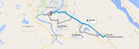 Hue Travel Map - Phu Bai Airport to Hue city