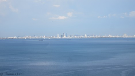 Danang city from train's window view