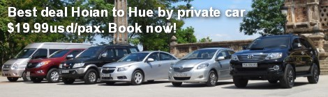 Best deal Hoi An to Hue by private car