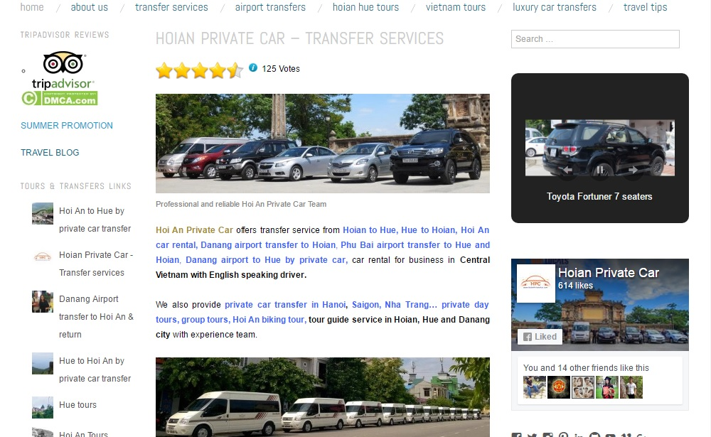 Hoian Private Car homepage