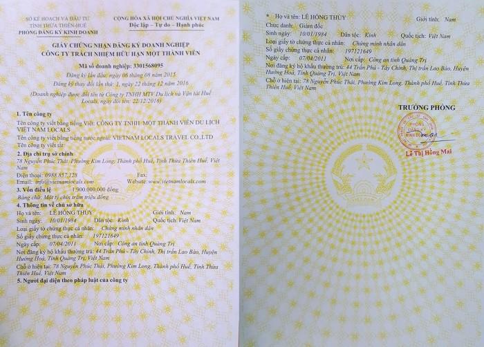 VIetnam Locals Travel Business License