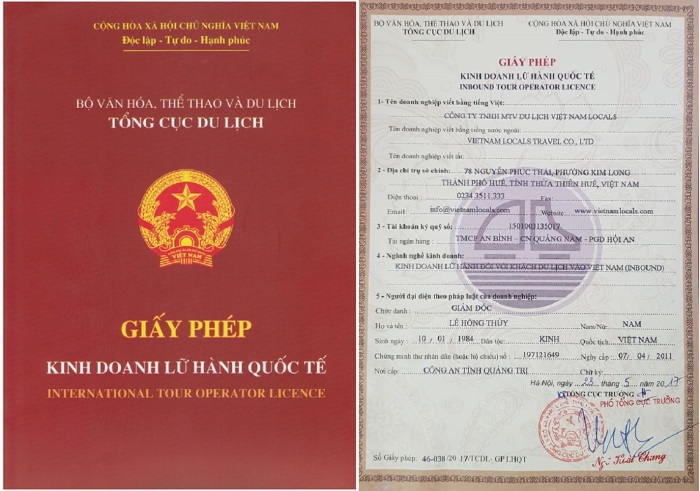 International Tour Operator Business License-Vietnam Locals Travel